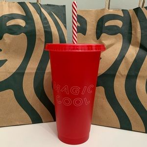 Red Starbucks tumbler cold cup with striped straw